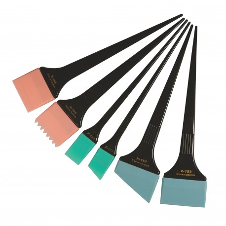 Силиконовые кисти-лопатки для окрашивания Shave Swatch, черные, набор, 6 штук