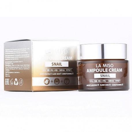 Ампульный крем для лица с экстрактом слизи улитки LA MISO Ampoule Cream Snail 50 мл