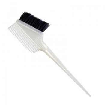 Кисть для окраски волос Dewal JPP142L с расческой и черно-белой щетиной (55мм, узкая, белая)