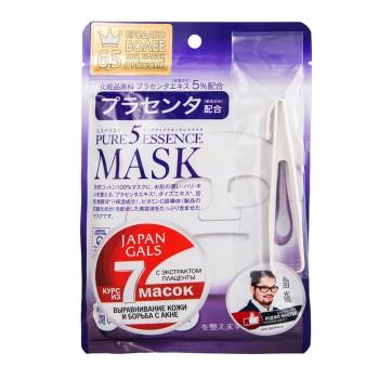 "Japan Gals ""Pure 5 Essential"" Маска с плацентой, 7 шт"