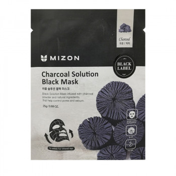 MIZON Charcoal Solution Black Mask Маска для лица c древесным углем 25 гр.