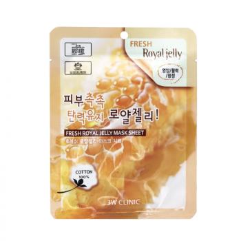 3W CLINIC Fresh Royal Jelly Mask Sheet Тканевая маска для лица с маточным молочком 23 гр.
