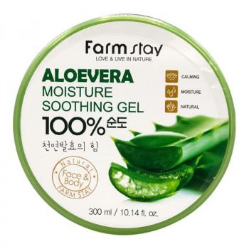 Многофункциональный гель с экстрактом алоэ FarmStay Aloe Vera Moisture Soothing Gel 100% 300 гр.
