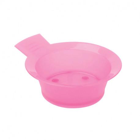Чаша для краски DEWAL, розовая, с ручкой, с резинкой на дне 300 мл.