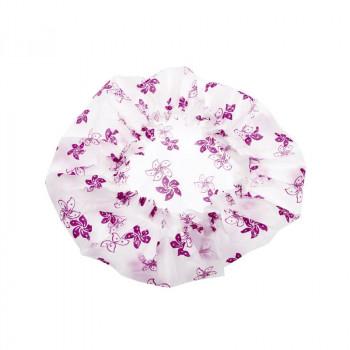 Шапочка для душа без кружева, белая с фиолетовыми цветами DEWAL BEAUTY