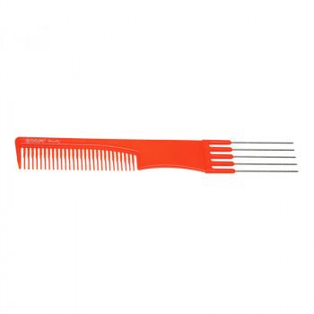 Расческа для начеса с металлическими зубцами оранжевая DEWAL BEAUTY