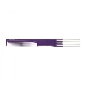 Расческа для начеса с металлическими зубцами фиолетовая DEWAL BEAUTY