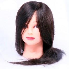 Голова-манекен учебная, 100% натуральные волосы, длина волос 40-50 см, брюнетка