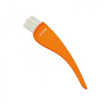 Кисть для окрашивания Dewal, прозрачная оранжевая, с белой прямой щетиной, узкая 35мм