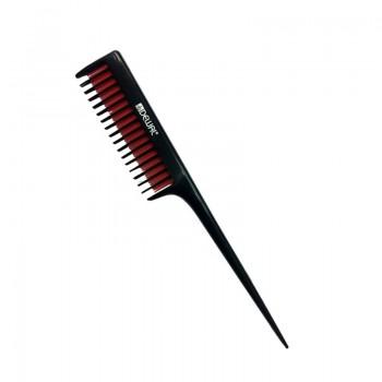 Расческа для начеса DEWAL с пластиковым хвостиком, 3-х рядная, черная с красным, 20,5см