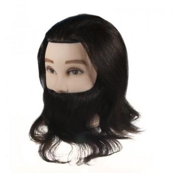 """Учебная голова мужская """"брюнет"""" с бородой, 90% натуральные волосы, длина 30-35 см"""