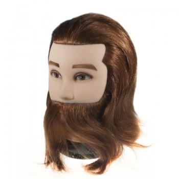 """Учебная голова мужская """"русый"""" с бородой, 90% натуральные волосы, длина 30-35 см"""