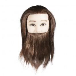 Учебная голова мужская с бородой, 90% натуральные волосы